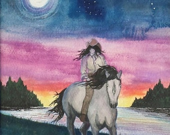 Cowgirl portrait,horse portrait,western sunset,Full Moon,Sagitarius,Centaur,Fantasy landscape,Free Spirit,southwest art,Flame Bilyue