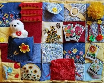 Flower Market Fidget Blanket for Dementia, Alzheimer, Stroke and Nursing Home patients