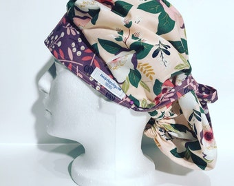 "Boufant Scrub Cap; ""flowing flowers""; flowers; operating room;"