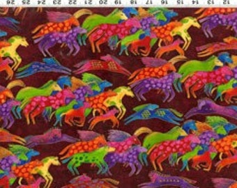 Laurel Burch Dancing Horses Fabric Burgandy Med 1 yard