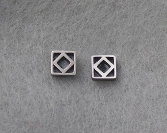 Tiny Square sterling post earring, simple delicate, geometric earring, unique handmade modern earring, sterling ear post, 5mm, silversmith