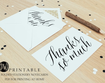 INSTANT DOWNLOAD Printable wedding stationery thank you note cards, bridal shower calligraphy thank you notes, blank card - diy digital PDF