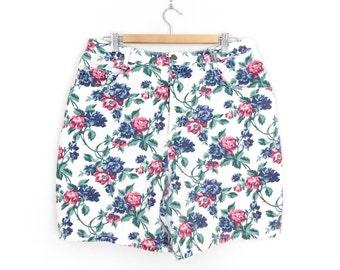 Sz 16 Floral High Waisted Denim Shorts - Vintage 80s 90s Women's High Rise White Rose Print Jean Shorts