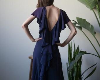 MOLLIE PARNIS navy blue cascading ruffle floor length gown / open back long dress / s / 003d