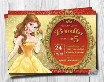 Princess Belle Invitation, Princess Belle Invitations, Beauty and the Beast Invitation, Digital File, You Print