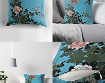 Throw Pillow - Pillow Cover — Lovely Bird with Flowers Design / Image from Antique Japanese Cloisonné Charger Plate / Spun Polyester