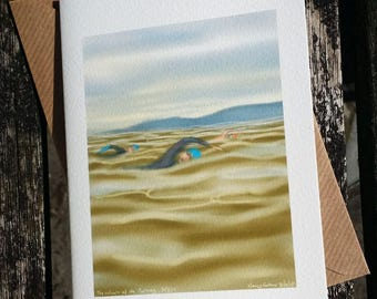"""Open Water Swimmer greetings card: """"The Colours of the Morning"""" - art card, sea swimming, Triathlon. Drawing by Nancy Farmer"""
