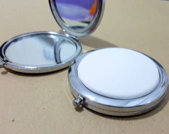 Set of mirror Pocket round silver-plated 7cm with ceramic Customiser cabochon decorate