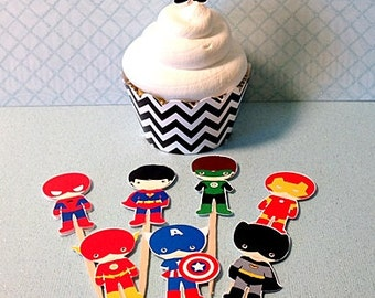 8- SUPERHERO Birthday Party Cupcake Toppers and/or Wrappers