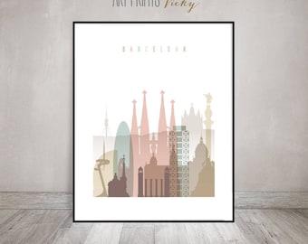Barcelona print, Barcelona skyline, Travel poster, Wall art, Spain, housewarming gift, Travel gift, Home Decor, ArtPrintsVicky