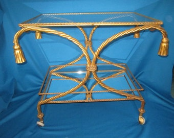 PICK UP ONLY Vintage Gorgeous Hollywood Regency Rolling Serving Table Two Tiered Cart