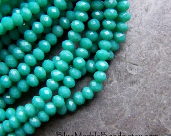 Chinese Crystal Beads, Crystal Rondelles, Turquoise Beads, Opaque Turquoise, Tassel Beads, Rondelle Beads, 18 Inch Strand, 4mm, 138 Beads