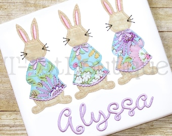 SALE - Vintage Easter Bunnies Embroidered Shirt or Bodysuit Spring Girls Shirt Three in a Row Bunny Trio - FREE PERSONALIZATION