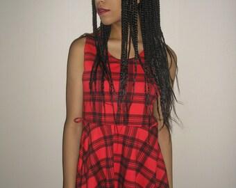 Vtg 90's CLUELESS SCHOOLGIRL black red plaid skater mini dress S