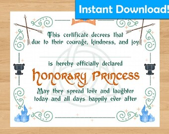 INSTANT DOWNLOAD! Merida/Brave Inspired Printable Princess Certificate - For Coronation Ceremony, Birthday Gift, Party Favors