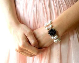 Pearl Wedding Jewelry Black Rose Bracelet Pearl Statement Bracelet Maid Of Honor Gift Pearl and Flower Bracelet Pearl Bridesmaid Bracelet