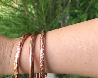 Sale!Three stack pink copper bangles