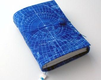 Wanderlust Wrap Journal, Fabric,  Blue Vintage Map