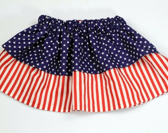 Red, White and Blue Stars and Stripes Skirt, Girls Summer Skirt, Girls Spring Skirt, Girls 4th of July Skirt, Fourth of July Skirt