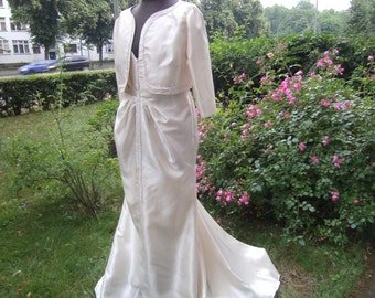long creme WeddingDress   Weddingdress  L  - Taftdress - Dress with Godet - Dress with Bolero - handmade Dress