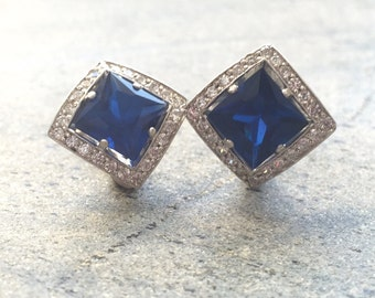 Sapphire Earrings, Antique Earrings, Vintage Earrings, Antique Sapphire Earrings, Antique Earrings, Sterling Silver Earrings, Blue Earrings
