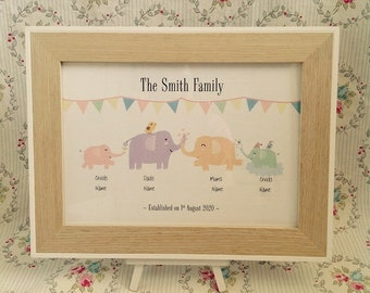 Elephants Never Forget Personalised Family/Couple Print Wall Art
