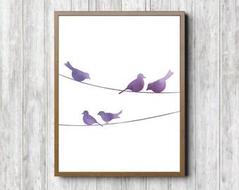 Purple Watercolor Bird Wall Decor - Birds On A Wire Wall Art - Purple Nursery / Girls Room Art Printable - Office Decor - Digital Artwork