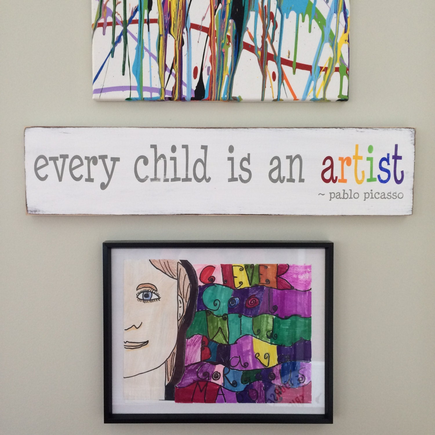 Wall Art every child is an artist pablo picasso Hand