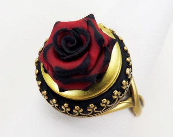 Rose Locket Ring - Gothic Ring, Vintage Style Secret Compartment Ring, Gotico Jewelry