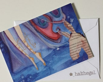 MIDSUMMER NIGHT'S DREAM luxe edition faerie tale feet mini print from original gouache and collage painting
