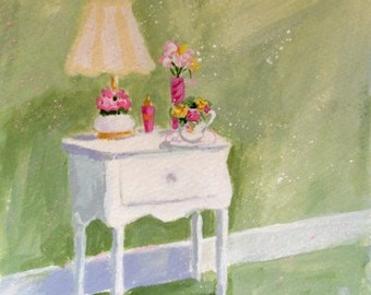 Original Painting * ROMANTIC NIGHTSTAND * Small Art Format by Rodriguez