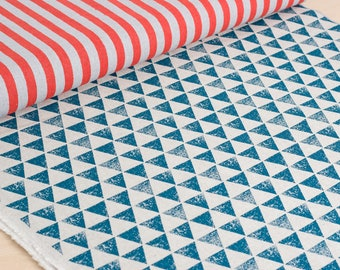 Echino | Japanese fabric - stripes and triangles in red and blue - 1/2 YD