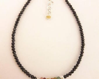 Delicate bracelet of spinel, tourmaline and silver beads