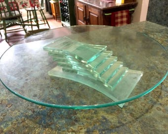 Vintage PartyLite Stratus Tiered Glass Candle Holder, Cake Stand, Pedestal Plate Cookie or Fruit Stand, Sandwich Plate etc.
