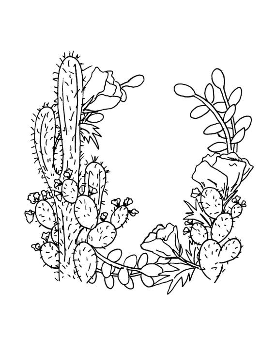 Succulent Coloring Page Cactus Coloring Floral Wreath