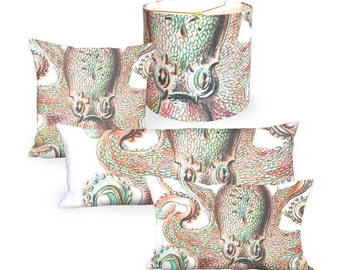 Octopus Fun in Coral and Mint Linen Cotton Pillow Cover - Pillow - 12x18 12x20 14x26 14x36 16x 18x 20x 22x 24x 26x 28x Inch Cushion Cover