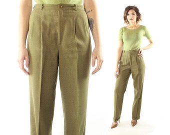 Vintage 80's High Waisted Trousers Cuffed Pleated Pants Menswear Striped Olive Green 1980s Medium M