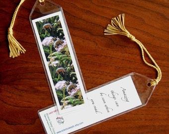 Pigasi Everywhere Mini Art Bookmark with Tassel - Small, Flying Pig Bookmark, Photographic Art Bookmark, Paper Bookmark in Vinyl Sleeve
