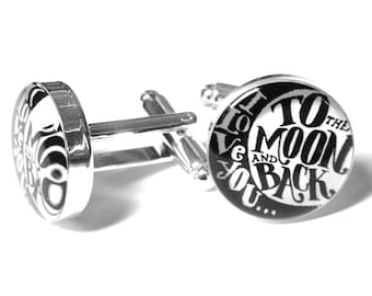 I Love You to the Moon and Back Wedding Cufflinks, Anniversary Gift, Fiance Gift, Handmade, Gift for Him,  Grooms Cufflinks