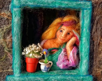 Sea Maid at the Window Greetings Card from original Needle Felted picture Felt