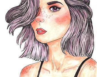 Purple Hair Print
