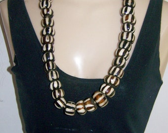 Vintage African Bead Necklace Black and White Stripes Mud Cloth design 30 inches