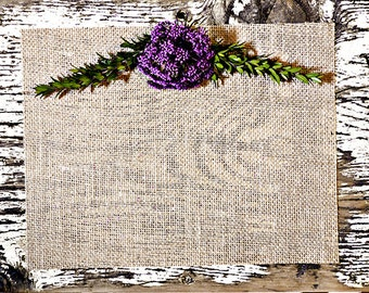 Rustic Burlap Purple Floral Photoshop Mock Up Blog Design Styled Photography Digital Graphics Website Background Commercial Use