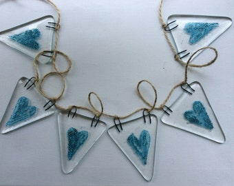 Fused Glass Bunting Blue Hearts Design Garland Party Decoration Wedding Engagement  Gift