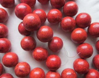 Red Sponge Coral Chunky Beads 17-19mm 10 Beads