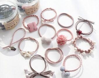 Set of 12 /Ponytail Holder /Handmade Hair Elastic/ Hair Tie/ Blossom Pink Pearl/Hair Accessories/Women Girls