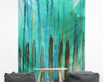Beach Fence Hanging Wall Tapestry, Home Decor, Dorm, Nautical, Stripes, Abstract Painting, Modern Art, Turquoise, Headboard Tapestry, Aqua