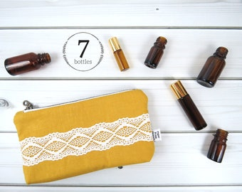 Essential Oil Case, Essential Oil Bag - CHARLOTTE in Honey - linen and lace, doily cosmetic bag zipper pouch essential oil storage, oils
