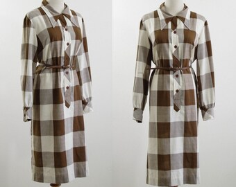Vintage Buffalo Plaid Dress, 70s Shirtdress, Brown and White Plaid Dress, Checked Dress, Long Sleeve Dress, Bust 44 Extra Large XL