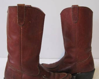 VINTAGE Western Boots Size 8.5 D Mens Cowboys Motorcycle Leather Maxitred BT633